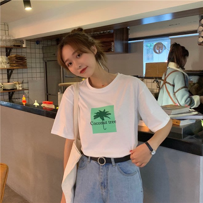 FINDSENSE G6 韓國時尚潮流 2019新款學院風圓領寬鬆顯瘦印花打底衫圓領T恤短袖T恤TEE