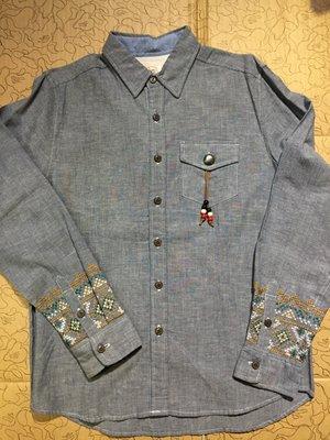 [變身館日本服飾]~QUASH~長袖~襯衫~休閒衫~刺繡~牛仔~日本帶回~全新~民族風~SMART~全新現品~出清價