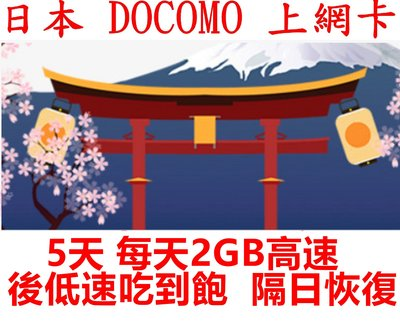 【杰元生活館】DoCoMo日本上網卡 5日 每日2GB高速 後降速128KBS吃到飽