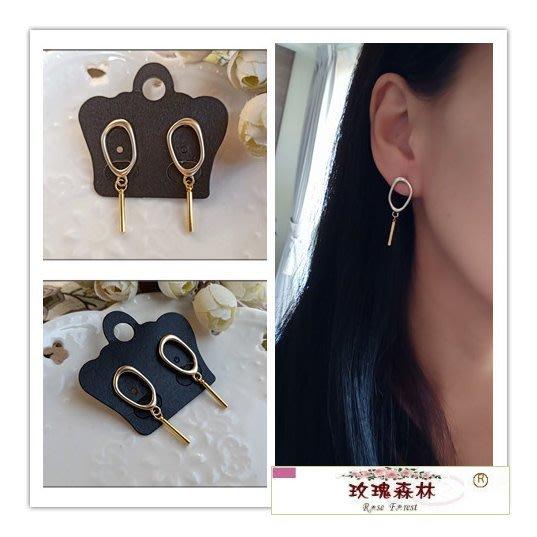 玫瑰森林-- ☆°* 美麗嚴選~簡約時尚 縷空幾何造型設計 耳針式耳環 no.2