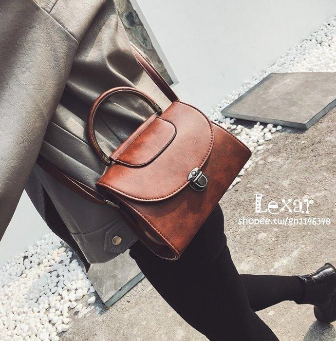 新款潮流時尚女包秋冬手提插鎖定型包單肩PU復古簡約貝殼包包