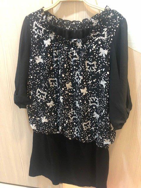 小花別針、專櫃品牌【ma tsu mi】雪紡蝴蝶結連身裙短袖洋裝