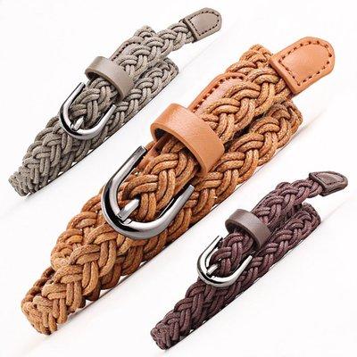 腰繩皮帶 素色 復古 編織 百搭 休閒 針釦 腰繩 皮帶 細腰帶【NR659】