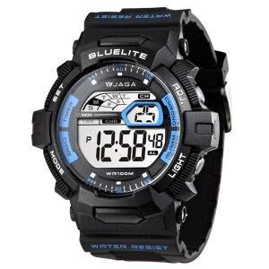【元電】【JAGA 專賣店】台灣設計 捷卡 M979-AE(黑藍) 電子錶 大數字 倒數計時 鬧鈴 兩地時間