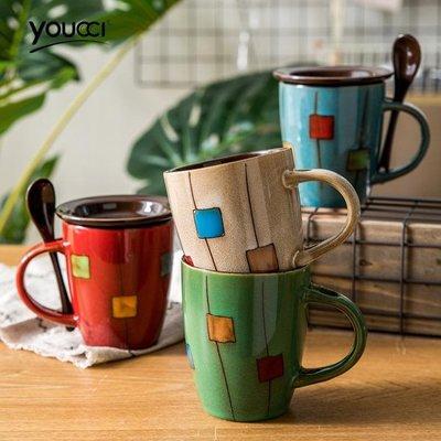 悠瓷 創意陶瓷杯子馬克杯簡約牛奶杯咖啡杯家用水杯帶蓋勺