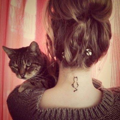 【萌古屋】貓背影 - 男女防水紋身貼紙刺青貼紙S-271