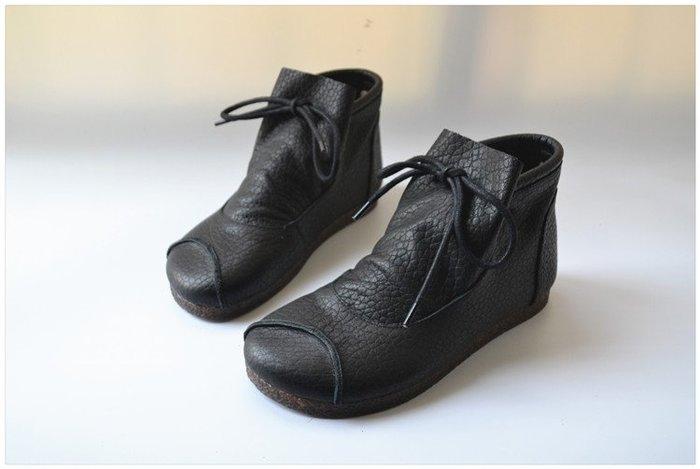 【子芸芳】大象紋頭層牛皮單靴女復古文藝風真皮短靴子休閒舒適軟皮
