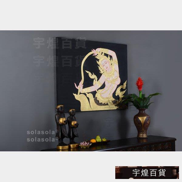 《宇煌》東南亞泰佛金箔立體油畫裝飾畫泰國無框掛畫客廳室內禪意_PkBU