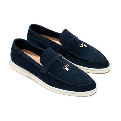 歐洲富豪最愛 Loro Piana SUMMER WALK 海軍藍麂皮便鞋