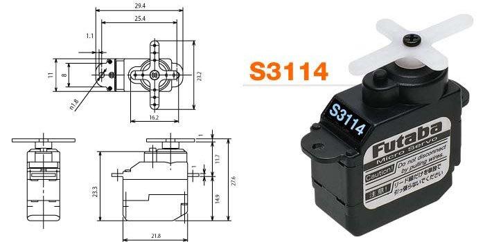 FUTABA 類比式 迷你型 伺服機/高扭力 S3114 +備用齒輪組 (EBS3320)