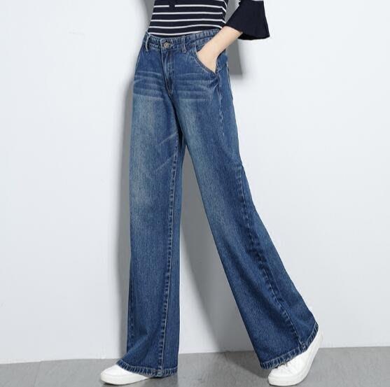 牛仔褲 大碼褲子高腰顯瘦直筒牛仔褲女長褲寬松闊腿褲休閑女褲 —莎芭