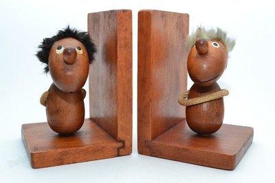 丹麥 Hans Bolling 樂觀者 與 悲觀者 書檔 書架 Optimist Pessimist 老件 玩偶