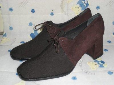 ☆甜甜妞妞小舖☆品牌  VICENTE PASTOR  西班牙絨布面--圓頭高跟包鞋--手工上班鞋 39號