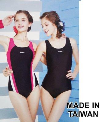 KINI-奧可那泳裝AQ12005-台灣製-素面全黑/連身三角萊卡泳衣-Y型美背式[S-XL]-特價780元