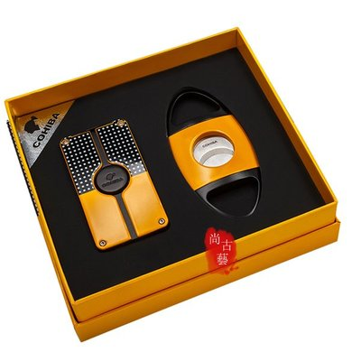 COHIBA雪茄剪打火機套裝 防風充氣打火機 德國進口不銹鋼雪茄剪刀