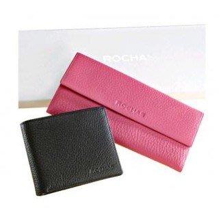全新 正品  ROCHAS 桃紅色 全真皮長夾 法國品牌Rochas荔枝紋皮夾