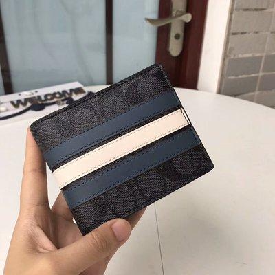 風格 COACH 全新正品 26072 時尚條紋PVC牛皮男士短夾 對折短款錢包 內附多卡位 全場特價 附購買證明