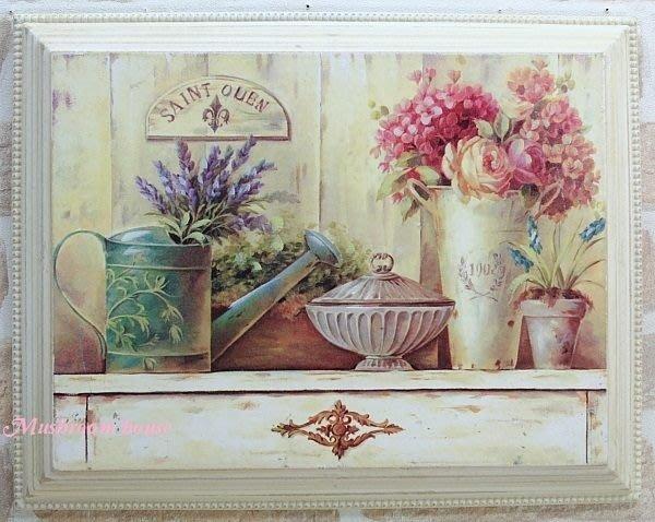 點點蘑菇屋~木板彩繪掛畫~粉紅山茶花與繡球花花盆木框畫 花盆 壁飾 掛畫 鄉村雜貨