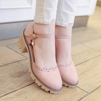 美麗鞋坊夏新款甜美淑女包頭扣帶粗跟學生鞋日系簡約中跟小碼大碼少女涼鞋