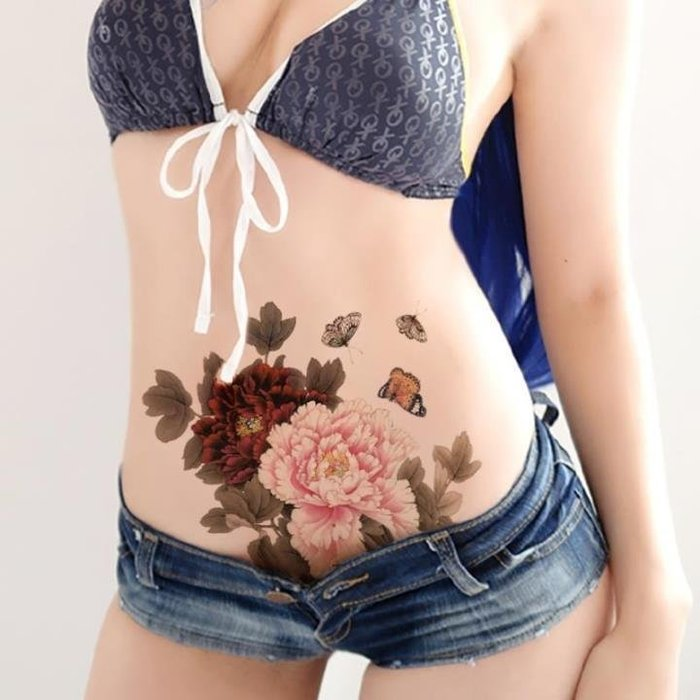 【萌古屋】雙色大紅牡丹花朵大圖 - 男女防水紋身貼紙刺青貼紙MQA44