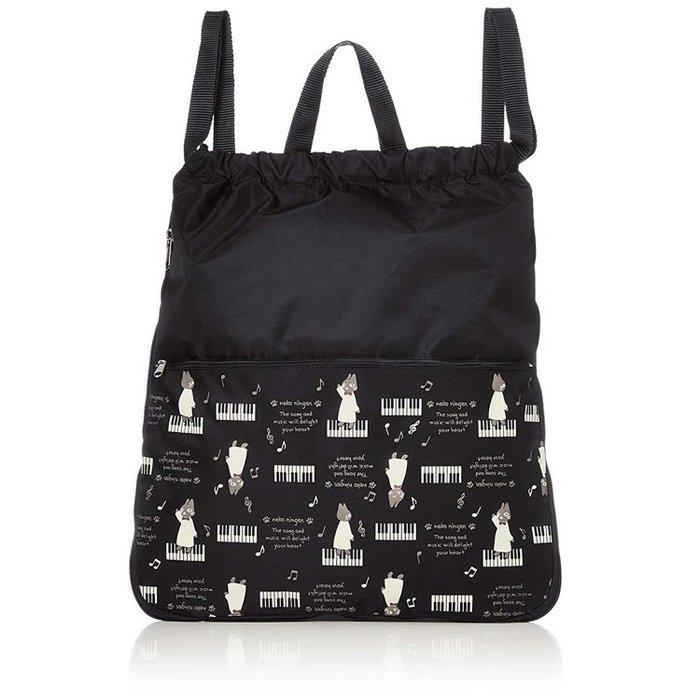 【露西小舖】日本NEKONINGEN輕量防水手提袋(紳士貓與鍵盤)手提包購物袋登頂包旅行包適合徒步旅行、購物[日本平輸]