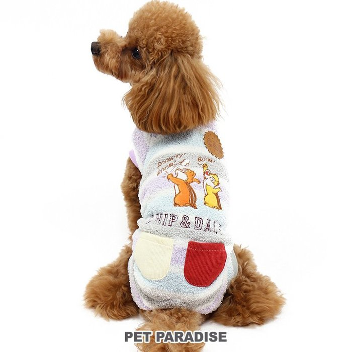 貝果貝果 日本 pet paradise 皮標胸章彩色連身褲  / 珊瑚絨 [D12313]