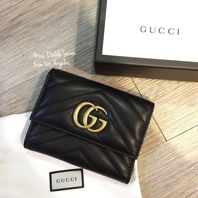 Gucci GG Marmont 馬夢短夾 黑色金字 超級美💖💖現貨在台