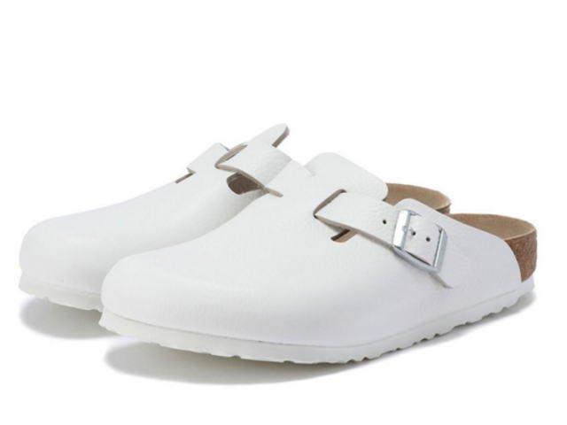 德國正品 【 BIRKENSTOCK 勃肯】 波士頓系列真皮半包便鞋-白色