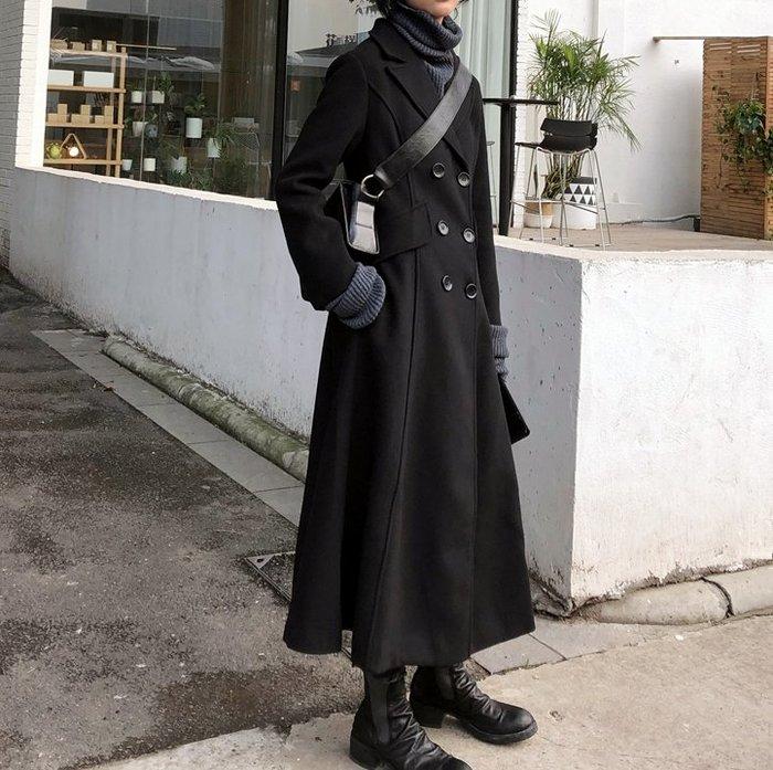 RVP-【最後追加】氣質雙排扣含羊毛腰身長大衣-12306