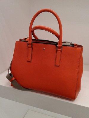 英國 Anya Hindmarch: Ebury Soft Large 橙色皮袋