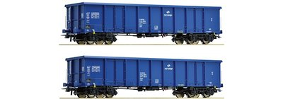 傑仲 博蘭 Roco Set of open wagons/coal miners Eanos 67193 HO