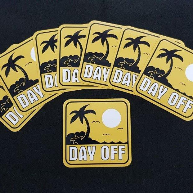 Dayoff-防水貼紙。全防水貼紙。10x10公分