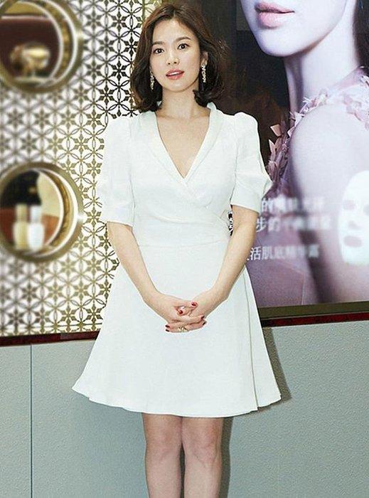 紫滕戀推出宋慧喬同款性感女小白裙連衣裙