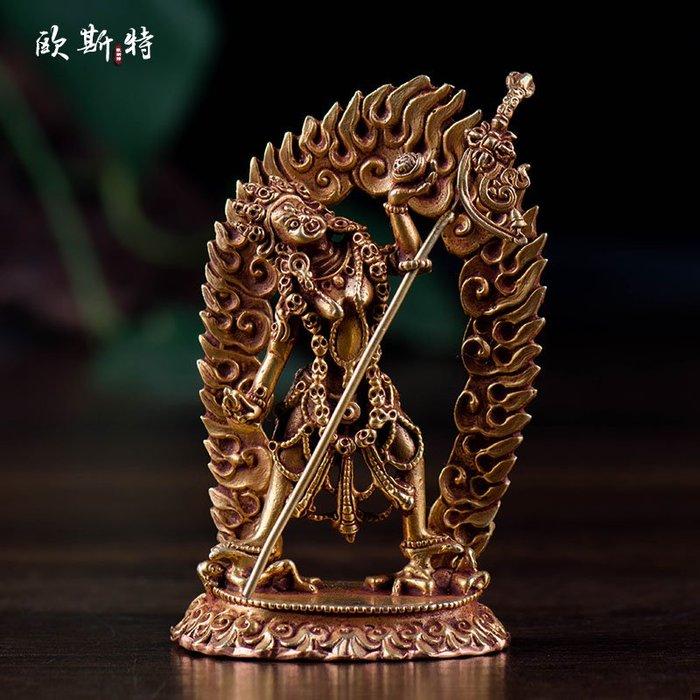 尼泊爾9厘米全鎏金 那洛空行母佛像 多杰南久瑪 【九州風水】