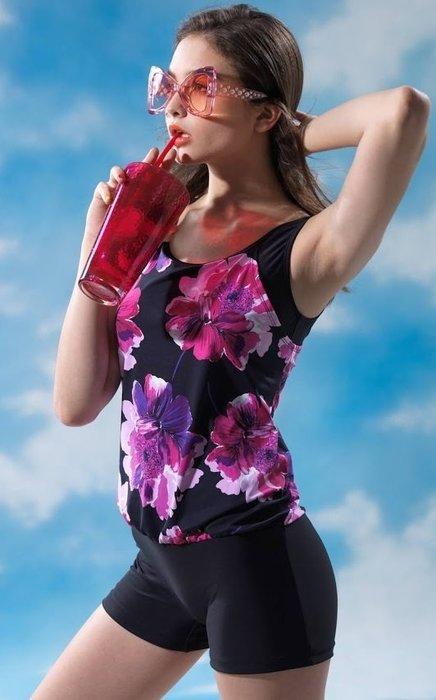 ~有氧小舖~2019沙麗泳裝 SARLEE 連身假兩件修飾腹部連身四角泳衣 台灣製 附泳帽 降價