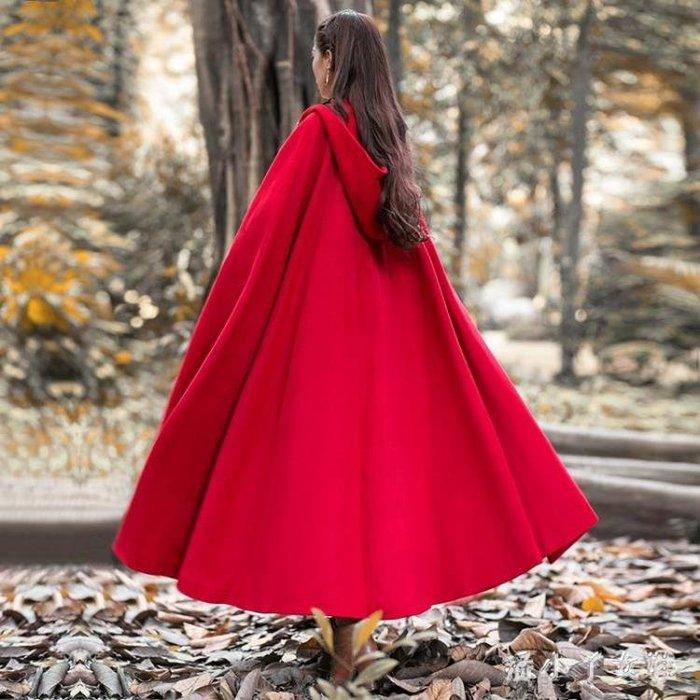 斗篷外套 冬裝加厚披風外套巫師帽大擺超長款斗篷毛呢復古大衣女 df7944