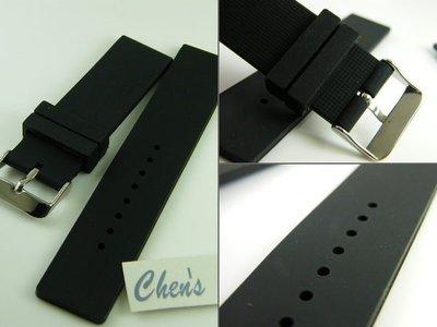 錶帶屋 高質感素面18mm 20mm 22mm 矽膠錶帶不鏽鋼扣替代各種運動 潛水錶 現貨商品