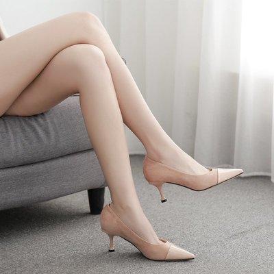 柒柒KR 正韓2019春夏季新款高跟鞋女細跟尖頭單鞋女百搭淺口中跟性感女鞋