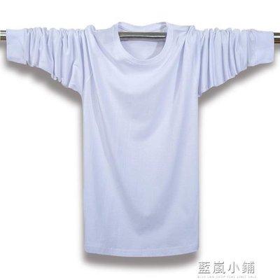 夏季新款男裝加肥加大碼長袖T恤純棉圓領純色長T運動休閒胖爸爸裝