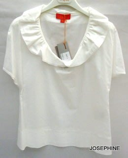 喬瑟芬【LA VIA 18】特價出清$5600~2011春夏 荷葉領 白色 棉質 上衣(40~46號)