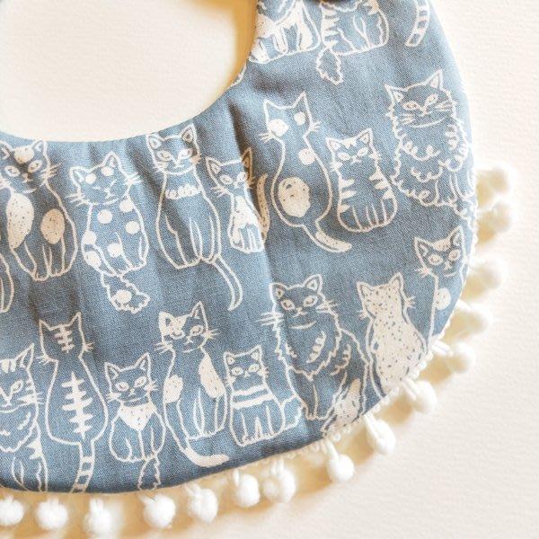 米咕手作 △ 寶寶六重紗 圍兜兜 / 口水巾 / 領巾 |很多貓咪 + 小雪球|