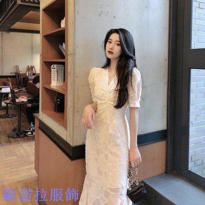 【新款】魚尾裙連衣裙法式V領氣質裙子女夏季修身顯瘦中長款裙
