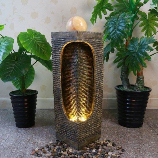 《宇煌》歐式樹脂流水噴泉風水球家居客廳陽台室內外加濕器裝飾品落地擺件_方型款