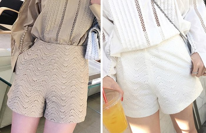 ACHIC┼歐風法式Isabel Maran感 甜美氣質 精工水溶繡花蕾絲 質感寬襬短褲(可搭成套裝)~裸杏,白色
