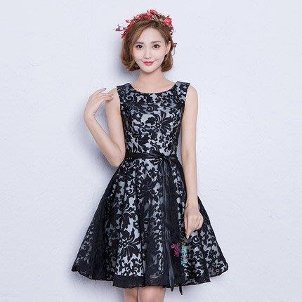 大小姐時尚精品屋~~黑色剪紙韓版修身顯瘦伴娘短禮服~3件免郵