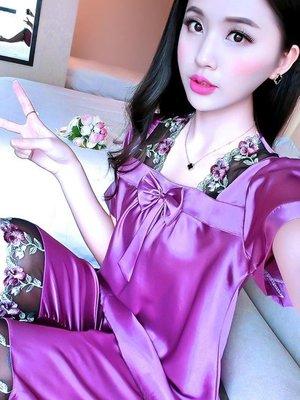 店長嚴選睡衣女夏套裝短袖兩件套冰絲韓版寬鬆大碼蕾絲性感夏季家居服絲綢
