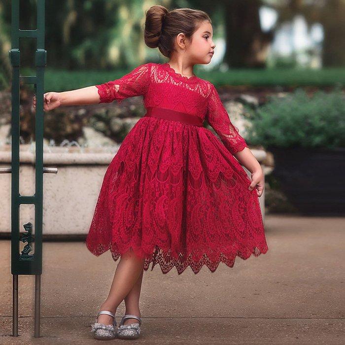 •*~ 辣媽咪衣飾小舖 ~*•❤童裝系列❤K950121韓版兒童夏款甜美可愛小花童蕾絲蝴蝶結公主禮服洋裝