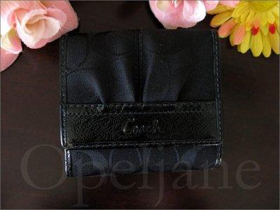 Coach Wallet黑色亮皮飾邊中夾皮夾車票夾可放零錢照片證件信用卡片 免運費 愛Coach包包