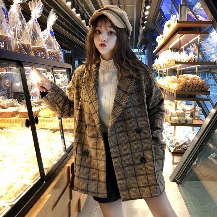 新款流行呢子大衣春季韓版中長款寬松復古格子西裝毛呢外套女#外套#上衣#新款#潮流#韓版#時尚