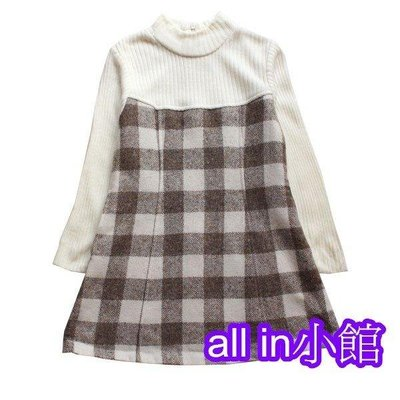 all in小館~日本longing高領羊毛格子洋裝~出清價299~尺碼100-120